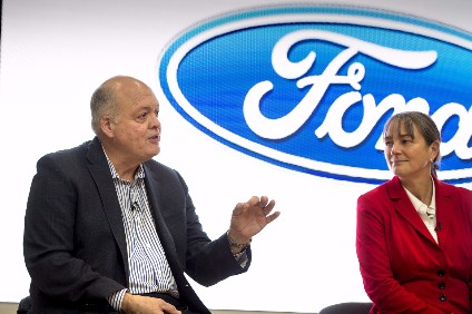 Ford CEO Hackett with recently appointed smart mobility director Sarah-Jayne Williams who heads the new office
