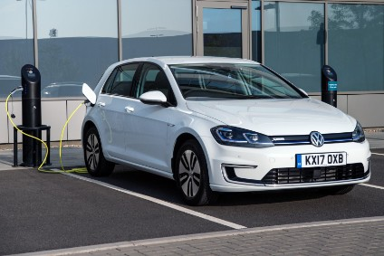 e-Golf has flush aero wheels plus glossy blue trim across its grille and within the headlamp modules