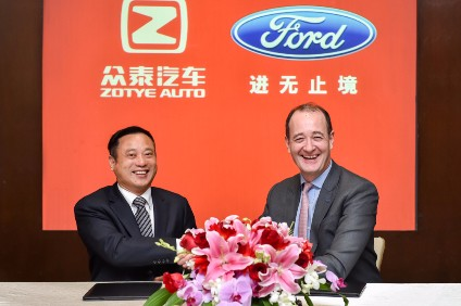 The JV agreement was signed in Beijing by Peter Fleet, president, Ford Asia Pacific, and Ying Jianren, chairman of Tech-New Group and board director of Zotye Auto
