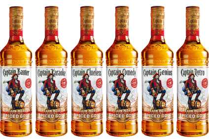 The limited-edition labels appear on the core Captain Morgan 70cl bottle