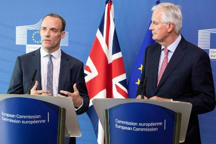 Raab (l) replaced David Davis as UK Brexit Secretary in July 2018