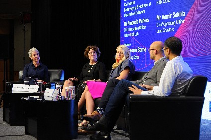 just-style managing editor Leonie Barrie (left) moderated the discussion on Closing the Loop, with panellists Dr Marsha Dickson, Dr Amanda Parkes, Joel Ankarberg, and Aamir Sakhia (chief operating officer of Lane Crawford)