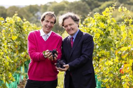 Patrick McGrath and Pierre-Emmanuel Taittinger met up at Domaine Evremond in England earlier this week (photo courtesy of Thomas Alexander Photography)