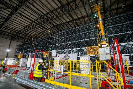 The cranes at Anheuser-Busch InBevs warehouse in south Wales can retrieve any pallet in 60 seconds