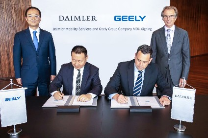 The MoU signing at Daimler HQ in Stuttgart was attended by An Conghui, Geely Holding president, and Liu Jinliang, president of Geely Group Company, as well as by Klaus Entenmann, CEO Daimler Financial Services, and Joerg Lamparter, head of mobility services at Daimler Financial Services