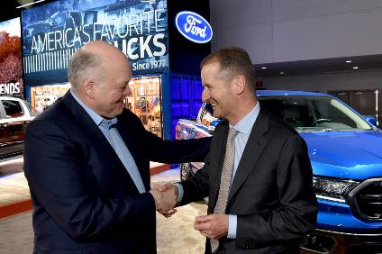 Lets be friends and try to do more: Fords Jim Hackett and VW Groups Herbert Diess in Detroit to seal the deal
