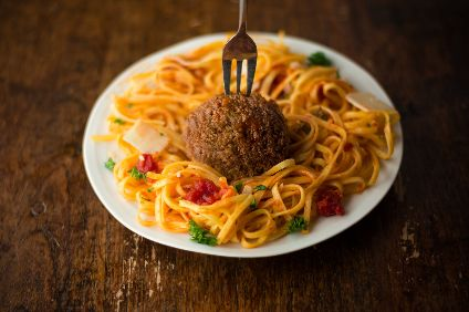 A meatball from Mosa Meat, which has attracted investment from Swiss major Bell Food Group