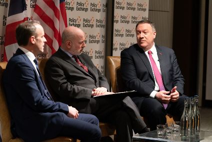 Secretary of State Pompeo (right) at an event with UK Foreign Secretary Dominic Raab (left), in London, 30 January 2020. [State Department photo by Ron Przysucha/Public Domain]