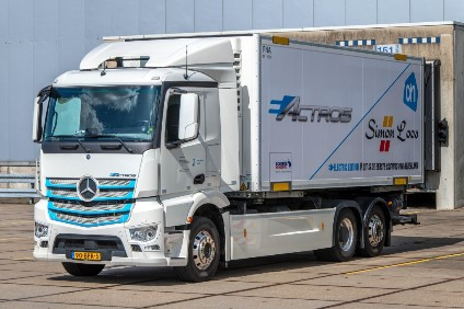 The Dutch trial will see the Actros EV do a daily 200km supermarket restocking run