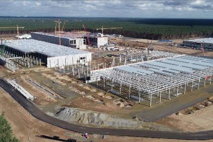 Construction work is proceeding rapidly at Teslas German gigafactory site just outside Berlin