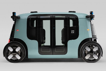 Zoox calls its AV a driverless carriage or robo-taxi. It can scoot to 75mph in either direction and seats four