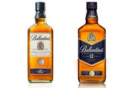 The new Ballantines 12 Year Old (right) has a blue label