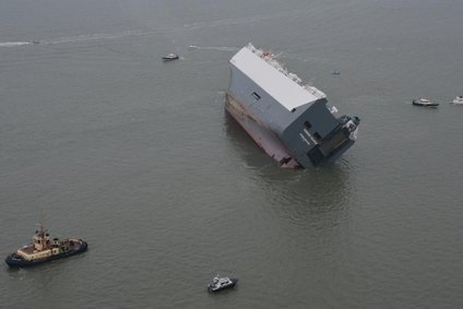Huge bonus for salvers as Hoegh Osaka self-rights: Picture courtesy National Police Air Service