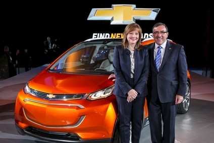 "Is this, potentially, a ""gamechanger""? General Motors CEO Mary Barra and North America President Alan Batey with the Chevrolet Bolt EV concept vehicle at the Detroit Show yesterday"