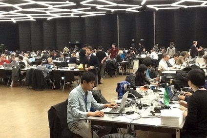 Press room at Geneva is jam-packed as usual