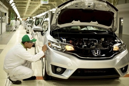 Honda has been affected in Europe by slow product roll-outs. Were still waiting for the new Jazz (Fit production in Mexico in 2014 pictured) which was plagued by recalls in earlier launch markets