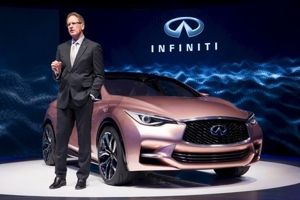 Former Infiniti president Johan de Nysschen presented the Q30 concept to the media at the 2013 Frankfurt IAA