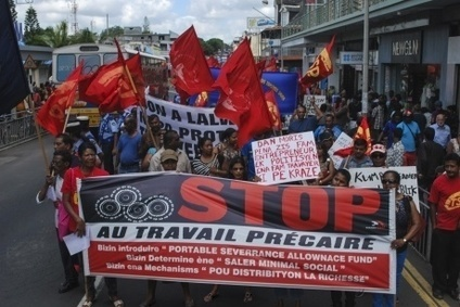 Workers in Mauritius took to the streets in October, demanding decent work. Photo credit: IndustriAll