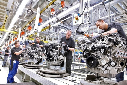 V8 engines are assembled in the Mercedes plant at Untertürkheim