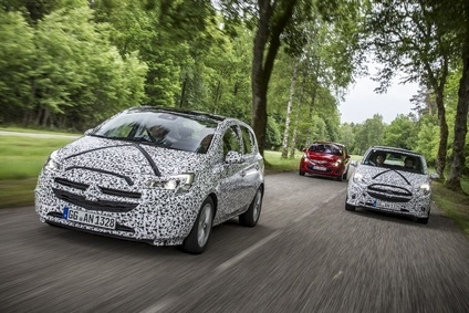 Opels official photo shows new Generation Corsa prototypes on test in Germany