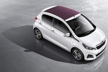 Peugeots version of the joint venture city car line is the 108. Convertible roof option shown was added with the redesign