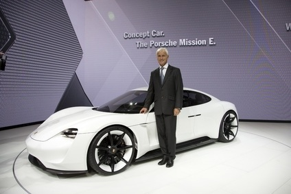 Porsche chairman Matthias Müller with the Mission E