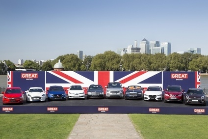 UK designed and made cars lined up in Greenwich