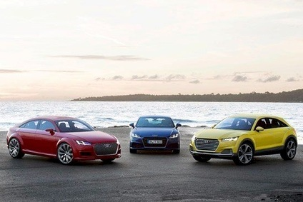 Audis TT family: TT Sportback (left), TT Coupe (centre), TT Offroad concept (right)