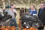 In this March 2010 file photo, plant chief Don DeKeyser (right) shows off the then-new Trenton South engine plant to Michigan governor Jennifer Granholm. The engines on the line are then-new Pentastar V6s