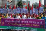 Hundreds of workers joined in the procession organised by the National Garment Workers Federation
