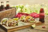 Some of the recipes are paired with Coca-Cola's leading brand, as with this beef taco platter