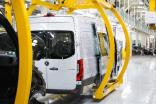 Mercedes Sprinter vans on a US assembly line. They are imported in knocked-down form from Germany