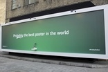 Carlsberg's beer tap billboard in East London yesterday