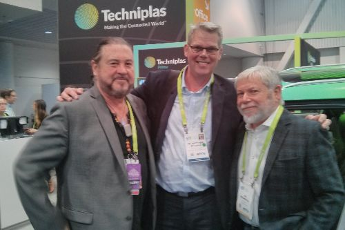 (l to r) Kenny Lee Lewis (guitarist/vocalist with the Steve Miller Band), Matthew Beecham (just-auto) and Avi Reichental (CEO of Techniplas) at the CES, Las Vegas.