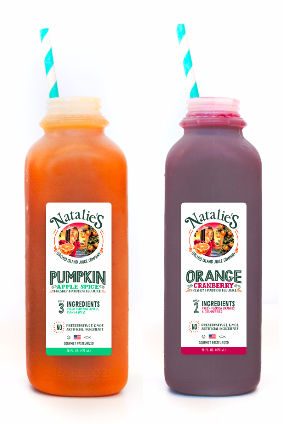 Natalies Orchid Island Juice Cos Pumpkin Apple Spice and Orange Cranberry