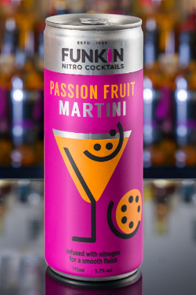 The four-strong Funkin Nitro Canned Cocktail range includes a passion fruit Martini variant