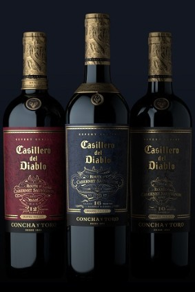The number of months Concha y Toros wine has been aged for is displayed on the bottles front label