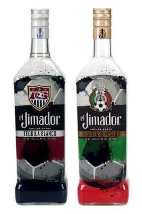 The bottles feature the US and Mexican national team badges